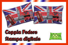 COPPIA FEDERE 52X82 100% COTONE STAMPA DIGITALE ENGLAND UK LONDON PULLMAN 0112