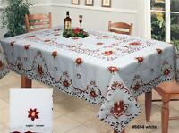 """Christmas Embroidered Poinsettia Bell Candle Tablecloth 70x104"""" & Napkin Holiday"""
