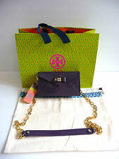 Tory Burch NWT Tribe Violet Bow Envelope Cross Body Bag Purse Gold Tone Chain