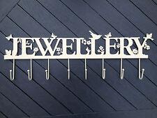 Large Wall Cream Metal Birds & Flowers Necklaces Jewellery Display Hooks Holder