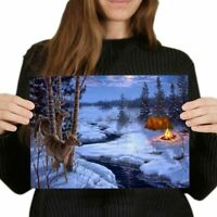 A4  - Winter Camping Snow Scene Christmas Poster 29.7X21cm280gsm #46448