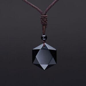 Unisex Black Obsidian Pendant Chakea Necklaces Hexagram Amulet Natural Jewelry