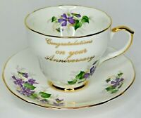 Vintage Duchess Bone China England Anniversary Cup And Saucer 921 Violets EUC