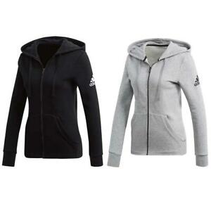adidas Womens Hoodie Sweatshirt Full Zip Essentials Linear Solid Grey Black Gym