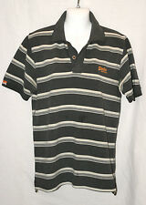 SUPERDRY Polo Shirt Short Sleeve Golf Shirt Black & White Stripes Size Small