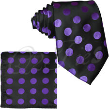 Black  / Purple BIG Polka Dots Necktie & Pocket Square Hankie Set Prom Party