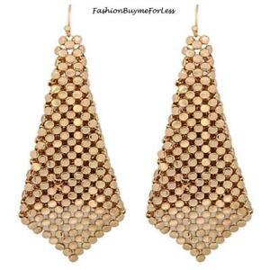 RETRO NEW Women Jewelry Square Net Mesh GOLD Chainmail Sheets Dangling Earrings