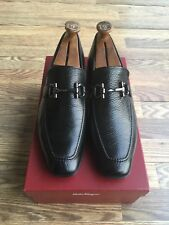 SALVATORE FERRAGAMO MEN'S BLACK LEATHER HORSEBIT LOAFERS SIZE 10 D
