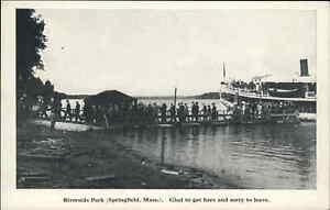 Springfield MA Steamer Boat Sylvia Riverside Park Dock Scene c1910 Postcard #2