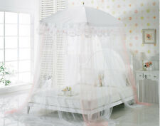 New Bed Canopy Mosquito net Pink Ribbon white Lace bedding fits twin / Queen
