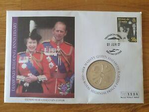 Queen Elizabeth Diamond Wedding Anniversary £5 Commemorative Coin Cover ****RARE