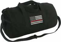 """Black Heavy Canvas Gym Travel Shoulder Duffle Bag with Thin Red Line 19"""" x 9"""""""