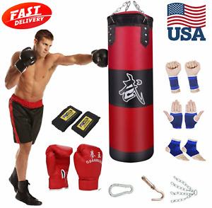 Heavy Boxing Punching Bag Canvas MMA UFC Kick Training Boxer Fitness Equipment