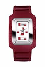 GUESS LADIES U75029L3 RED LEATHER STRAP WATCH
