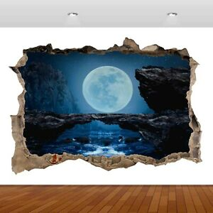 Nature Waterfall Fantasy Moon Lake Night 3D Decal Wall Sticker Poster Vinyl S203