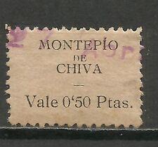 0726-RARO SELLO CUOTA CHIVA VALENCIA REPUBLICA MONTEPIO  0,50 CENTIMOS,DISTINTOS