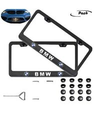 For BMW License Plate Frame Black USA Standard New 2PCS + hardware