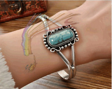 Twilight Inspired Bella's Turquoise Antique Silver Plated Bracelet Bangle Cuff