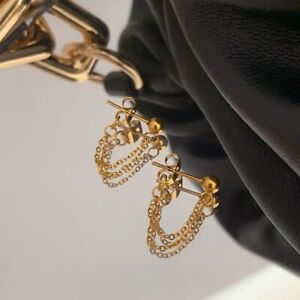 Korean Fashion Kpop Gold Color Trend 2 Layers Short Chain Studs  Earrings