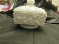 Vtg Westmoreland Milk Glass Square Pedestal Candy Dish, Grape & Vine Pattern