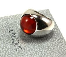 LALIQUE RED CABOCHON CRYSTAL 925 STERLING SILVER  RING Sz US-5/T48/UK-J