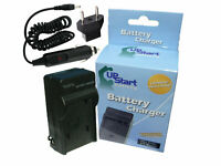 Charger + Car Plug + EU Adapter for Panasonic Lumix DMC-G5, DMC-GH2, DMW-BLC12E