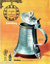 PUBLICITE ADVERTISING 066  1963  Kronenbourg  bière chope en étain poinçon Berne