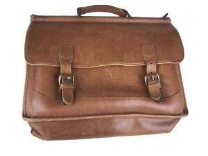 LL BEAN Brown Leather Briefcase Saddle Messenger Bag *Missing Shoulder Strap