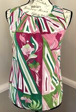 Talbots 2P Womens Sleevess Button Back Pink Graphic Print Lined Blouse Top