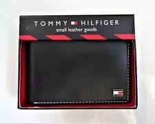 Tommy Hilfiger Men's BLACK Original Leather Passcase Bifold Wallet, Metal Logo-B