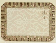 "NEW Gold Brass PINK Jeweled  4"" x 6"" Wedding PHOTO Picture Frame Antique Looking"