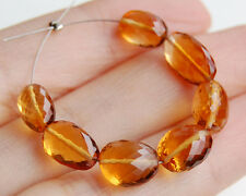 AAA Natural Deep Dark Gold Citrine Faceted Nugget Oval Gemstone Beads