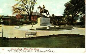 1908 Forrest Park and Forrest Monument in Memphis, TN Tennessee PC