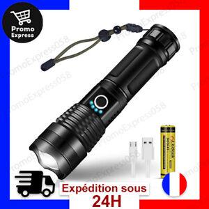 Torche Lampe de Poche LED USB Rechargeable Ultra Puissante 3000 Lumens Zoomable