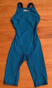 Arena Powerskin Girls' Women's Race Tech Suit Kneeskin Open Back Sz 26 - Blue