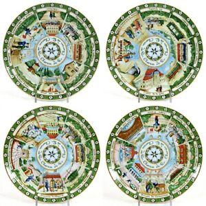 """Williams-Sonoma CHEMIN DE FER 8.25"""" Salad Plate Set 4Pc Porcelain Railway Mint"""