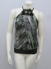 ROBERT RODRIGUEZ 100% SILK HALTER TOP AMAZING GREEN BLACK PRINTED JEWEL COLLAR 8