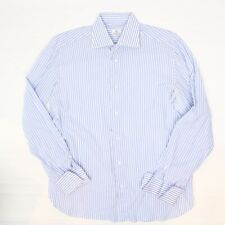 Luigi Borrelli Mens Dress Shirt 15.5/34.5 Blue White Stripe French Cuff Italy