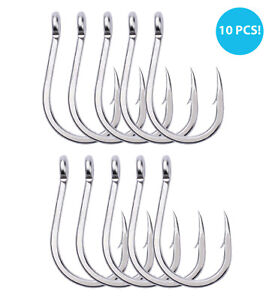 10 PCS Extra Strong Stainless Steel Saltwater Fishing Hooks BIG GAME TUNA