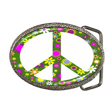 PEACE SIGN SYMBOL FLOWER POWER COOL RETRO BELT BUCKLE - GREAT GIFT ITEM