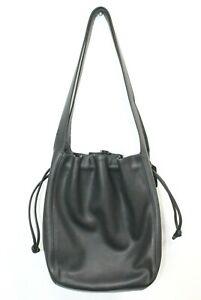 VTG Coach Italy Bucket Drawstring Bag Black Fine Leather Double Handle Purse