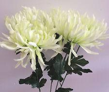 5  x Chrysanthemen creme/grün Länge  ca- 60 cm   Kunstblumen -Seidenblumen