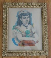 Currier & Ives Hand Colored in Gesso Frame Young Girl w Canary My Own Sweet Pet