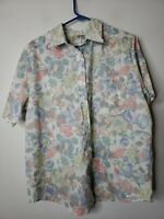 French Navy Women's Button Down Blouse Top Size 20W Blue Pink Floral Made in USA