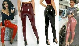 Ladies Wet Look PVC Elasticated Shiny Leather Vinyl Leggings High Waist  Pants