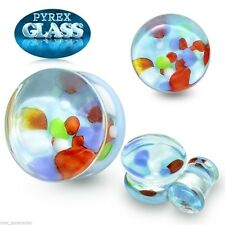 "Ear Plugs 16mm/5/8"" Gauge Body Je Pair-Pyrex Glass Colorful Pebbles Saddle Flare"