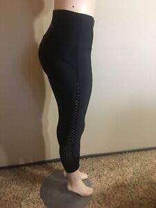 Lorna Jane Women's With Love Leggings Sz Small Black Mesh Yoga Running Fitness