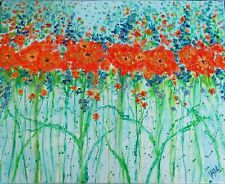 original oil painting - Poppys and BlueBells and tiny white flowers - 16 x 20