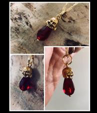 Buddha Shakyamuni Siddhartha Gautama Ruby Red Austrian Crystal Gold Necklace