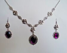 CAMELLIA FILIGREE VICTORIAN STYLE PURPLE SILVER PLATED NECKLACE EARRINGS SET CFS